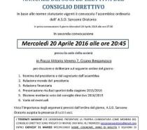 ATTENZIONE..!!!  NUOVA ELEZIONE CONSIGLIO DIRETTIVO A.S.D. SANSONE ORATORIO