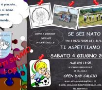 """A.S.D. Sansone Oratorio : Sabato 4 giugno ore 16:00 Campo di Villasola  """"Open Day Calcio"""""""
