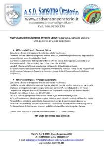 AGEVOLAZIONI FISCALI PER LE OFFERTE VERSATE ALL-1